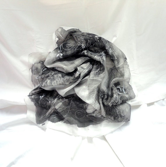 SELENE. Hand Painted square Silk Scarf. Black, Silver Shawl Wrap. Crystal Moonlight Fashion. 35,4 x 35,4 in.(90x90cm). Ready to Ship.