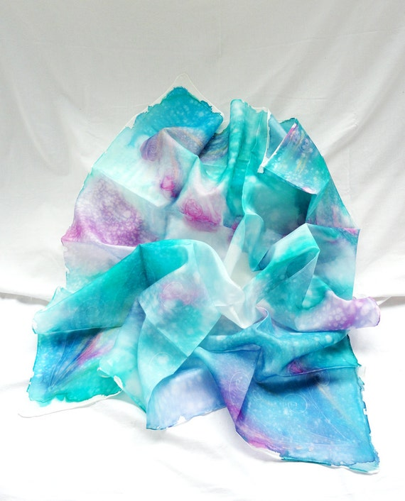 HYDRA. Hand Painted Square Silk Scarf. Aqua Blue, Fuchsia Shawl Wrap. Beachwear Coverup. 35,4 x 35,4 in. (90x90cm). Ready to Ship.