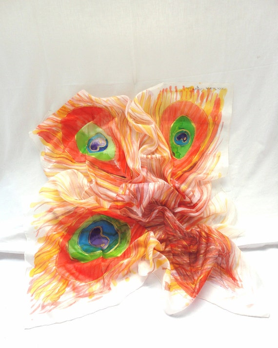 ADELPHA. Hand Painted square Silk Scarf. Hand dyed Orange, Green Shawl Wrap. Peacock Fashion. 35,4 x 35,4 in. (90x90cm). Ready to Ship.