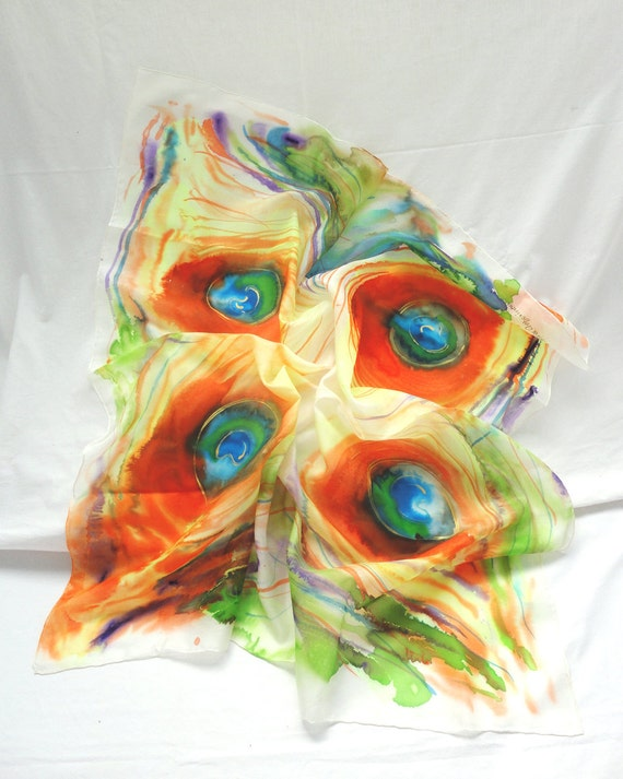 TITAIA. Hand Painted square Silk Scarf. Hand dyed Orange, Green Silk Shawl Wrap. Peacock Fashion. 35,4 x 35,4 in. (90x90cm). Ready to Ship.