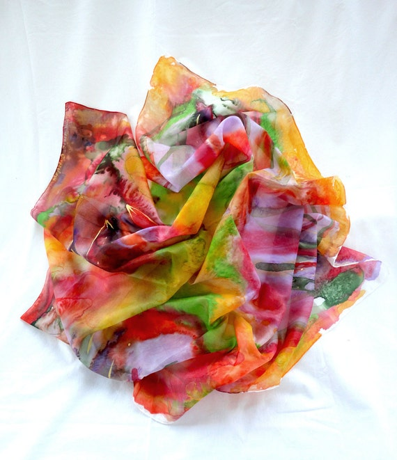 Multicolour Handmade Scarf. Hand Painted square Silk Scarf. Hand dyed Silk Shawl. Fluo Colorful Fashion. 35x35in. (90x90cm). Ready2Ship.