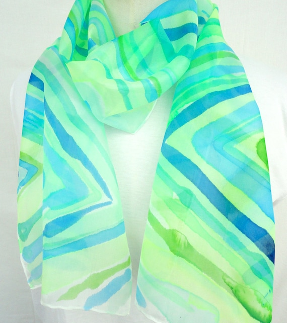 ALEXA. Hand Painted Long Silk Scarf. Hand dyed Fluo Lime, Blue Silk Scarf. Geometrical Fashion. 10x60 in. (25x150 cm). Ready to Ship.