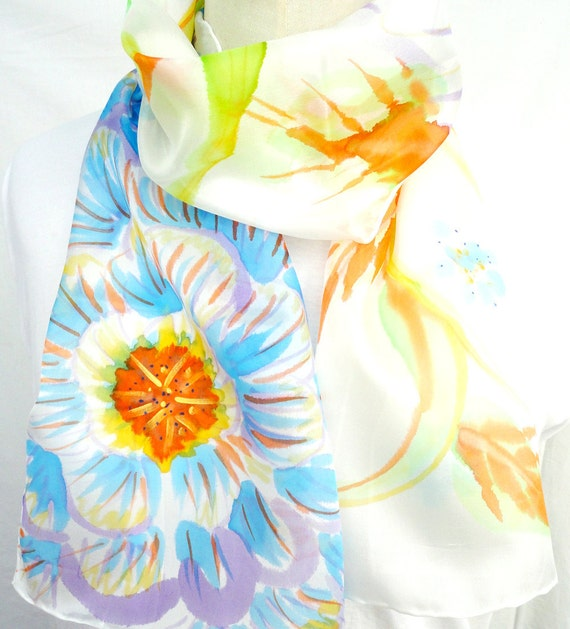 INES. Hand Painted Long Silk Scarf. Hand dyed Multicolor Silk Scarf. Colorful Floral Fashion. 10x60 in. (25x150 cm). Ready to Ship.