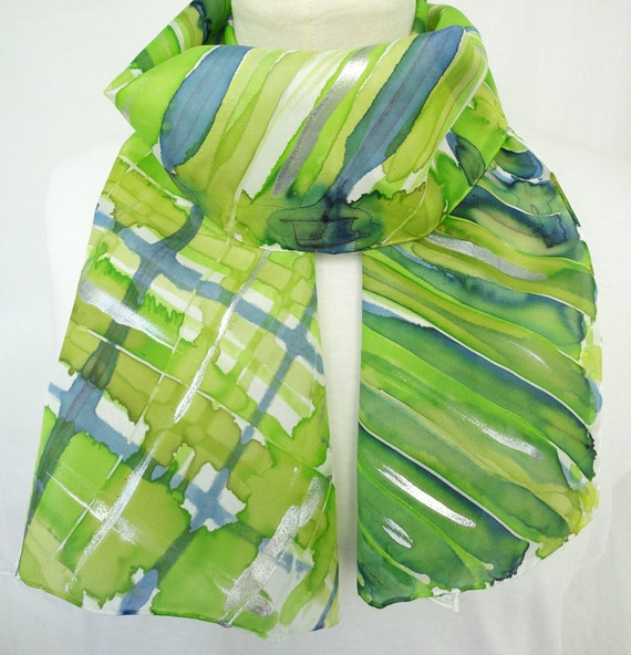 MYRON. Hand Painted Long Silk Scarf. Hand Dyed Men, Unisex Green Silk Scarf. Stripes, Checks Fashion. 8x54 in. (20x137cm). Ready to Ship.