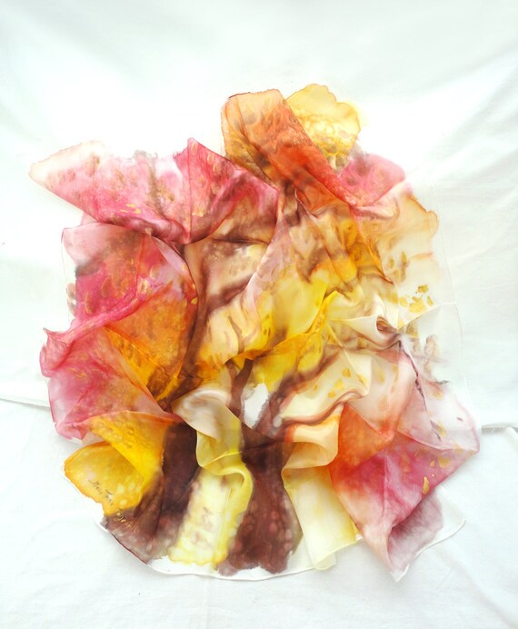 APHAEA. Hand Painted square Silk Scarf. Hand dyed Pink, Yellow Shawl Wrap. Sunset Tree. 35,4 x 35,4 in. (90x90cm). Ready to Ship.