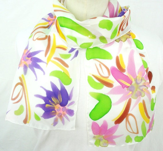LALIA. Hand Painted Long Silk Scarf. Hand Dyed Pink, Purple Silk Scarf. Multicolor Floral Fashion. 8x54 in. (20x137cm). Ready to Ship.
