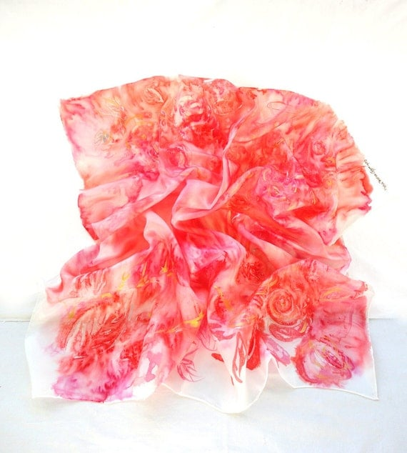 ELECTRYONE. Hand Painted square Silk Scarf. Red, Pink, Gold, Silk Shawl. Passionate Fashion. 35,4 x 35,4 in. (90x90cm). Ready to Ship.