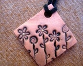 Darling Handmade Square Ceramic Flower Pendant Necklace - Natural Terracotta, Black and Yellow