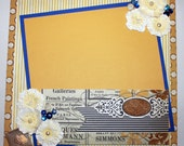 One page 12 x12 Scrapbook Layout, Modern meets Heritage with Blue/Gold
