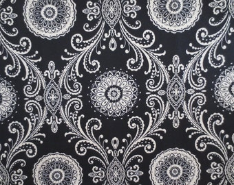 Indoor / Outdoor Pillow Cover Black Damask Print
