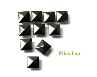 5mm 100pcs Gunmetal grey pyramid studs ( 4 legs ) / HIGH Quality - Fikashop