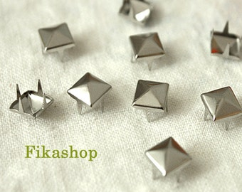7mm 200pcs Silver pyramid studs (4 legs) / HIGH Quality - Fikashop
