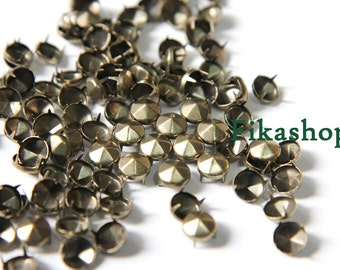 50% Off Clearance SALE: 5mm 100pcs Brass conical hexagon  studs / HIGH Quality - Fikashop