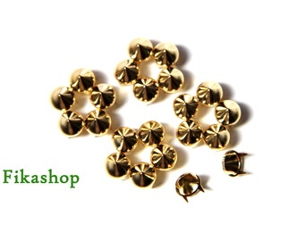 30% Off Clearance SALE : 6.5mm 100pcs Tiny gold conical studs ( 4 legs )/ HIGH Quality - Fikashop