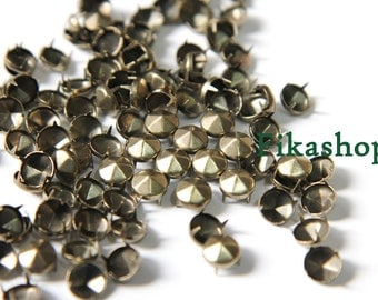 35% Off Clearance SALE: 4mm 100pcs Brass conical hexagon studs / HIGH Quality - Fikashop