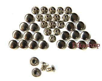 Clearance SALE: 5mm 200 sets Silver round Rivet rapid studs / HIGH Quality - Fikashop