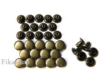 Clearance SALE: 8mm 100 sets Brass round Rivet rapid studs / HIGH Quality - Fikashop