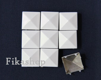25% Off Clearance SALE: 13mm 50pcs Large white polished pyramid studs (8 legs) / HIGH Quality-  Fikashop