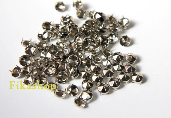 30% Off Clearance SALE: 6mm 50pcs Silver conical hexagon studs / HIGH Quality - Fikashop