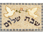 Glass Mosaic - Shabbat Shalom Tray with Pomegranates