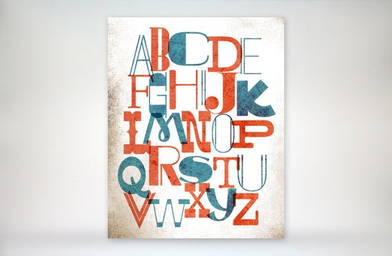 "8x10 art print ""Alphabet Soup"" Whimsical Playroom or Nursery Typography Poster, as seen in Land of Nod"