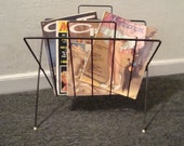 Vintage Magazine Rack . Mid Century Black Metal Wire