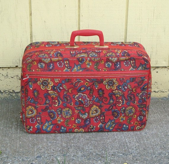 Vintage Fabric Suitcase . Mod Red Floral Travel Case with Key