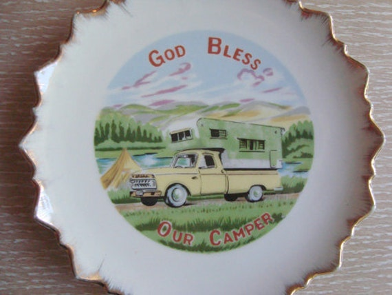 God Bless Our Camper Kitschy Vintage Hanging Plate