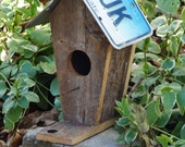 Rustic Birdhouse with a CT License Plate Roof