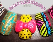 Hand Painted 3D Mix n Match Neon Nails