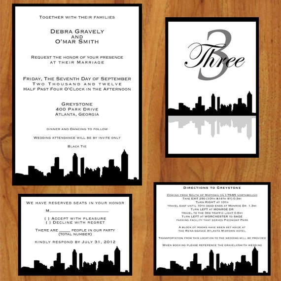 Personalized Skyline Wedding Invitations: Printable Custom Wedding Invitations Skyline By SweetToChic