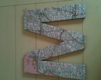 Homemade map letters set of 6