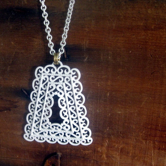 Vintage White Filigree Pendant Necklace By Trifari