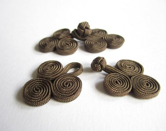 Chinese knot button closures - 2 pairs brown fancy knots - Chinese frog buttons, Chinese knot button closures, dark brown frog buttons - 2