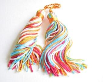 Multicoloured tassels - fresh contemporary colours - tassels - one pair - multicolored tassels, bright fresh colors