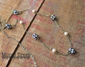 Vintage Style Rhinestone and Pearl Long Chain Necklace