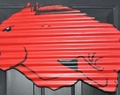 Hand Painted Corrugated Tin Razorback Door or Wall Hanging Decor