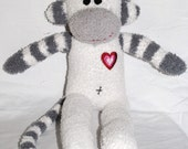 SIDNEY..... the grey and white striped sock monkey