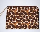 Simply sweet  giraffe print  zippered pouch.