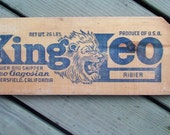 Original Fruit Crate End with Advertising Stamp-King Leo