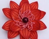 Tangerine Tango Flower Hair Clip - Carmella Flower in Tangerine Tango- Infant Toddler Girls Womens Hair Accessories