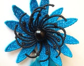 Turquoise Blue Hair Clip - Turquoise Feather Hair Clip - Turquoise Feather Hair Extensions - Lindsey Flower in Boogie Woogie Blue - Girls