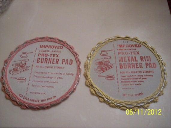 Reserved for Richard- Vintage Pro-Tex burner pads with Handcrafted Crochet covers 1950's