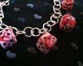 Polymer Clay Dice Charm Bracelet
