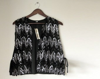 Sequenced Black and Silver Plus Size Womens Vest size 20