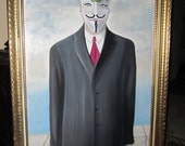 Oil Painting Occupy Wallstreet Anonymous Rene Magritte Guy Fawkes OWS