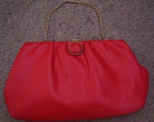 Vintage red leather clutch purse. 60s. Cute clasp. Fair condition