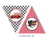 INSTANT DOWNLOAD - Printable CARS Themed Happy Birthday Banner - Triangle Pennant Banner