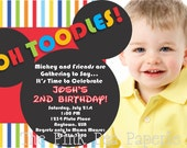 Custom Printable Striped MICKEY MOUSE 5 x 7 Birthday Invitation