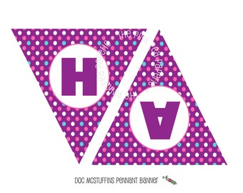 INSTANT Download - Printable DOC MCSTUFFINS Happy Birthday Banner - Triangle Pennant Banner
